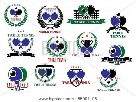 Table tennis sporting icons and labels set