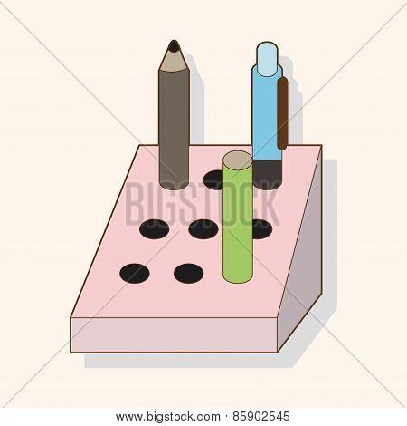 Stationary Pen Holder Theme Elements Vector,eps