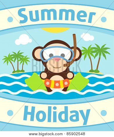 Summer sea background with monkey