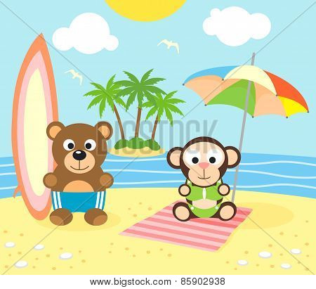 Summer background with bear and monkey on the beach