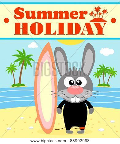 Summer holiday background with rabbit