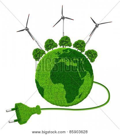 Green planet with trees and wind turbines isolated on white background