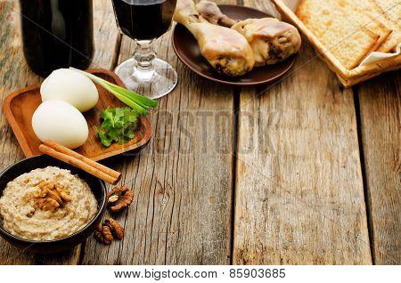 Matzah, Wine, Eggs, Chicken, Greens And Haroset