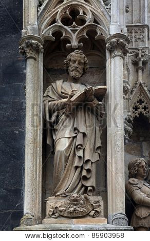 VIENNA, AUSTRIA - OCTOBER 10: Saint Mark the Evangelist at St Stephens Cathedral in Vienna, Austria on October 10, 2014
