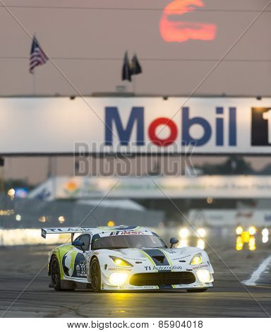 Sebring, FL - Mar 19, 2015:  The Riley Motorsport SRT Viper GT3-R races through the turns at 12 Hours of Sebring at Sebring Raceway in Sebring, FL.