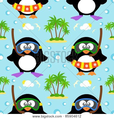 Summer seamless background with penguin