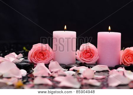 Beautiful rose with candle and therapy stones ,Valentines Day background