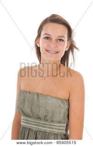 Portrait teen girl isolated over white background