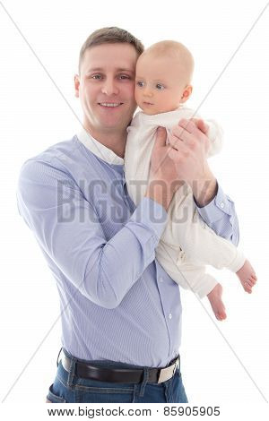 Young Man With His Little Son Isolated On White