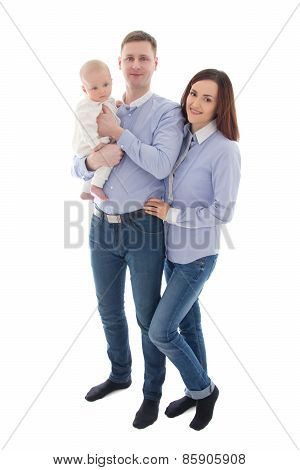 Happy Family - Father, Mother And Son Isolated On White