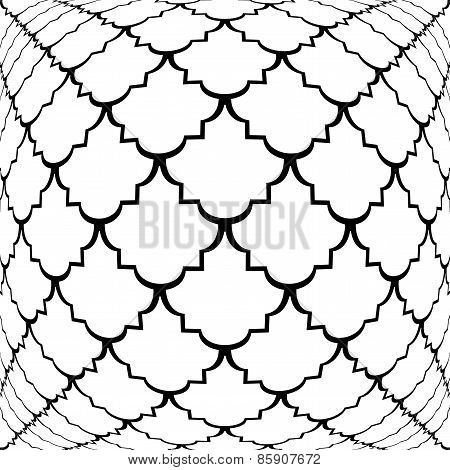 Design Warped Monochrome Convex Pattern