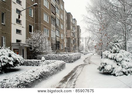 Winter Snowfall In Capital Of Lithuania Vilnius City Pasilaiciai District