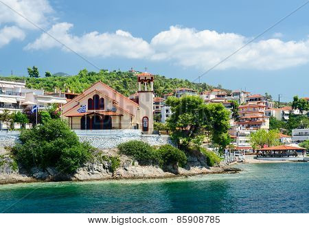 Greece, Sithonia, View Of Church On Waterfront In Neos Marmaras