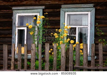 The windows of rural house