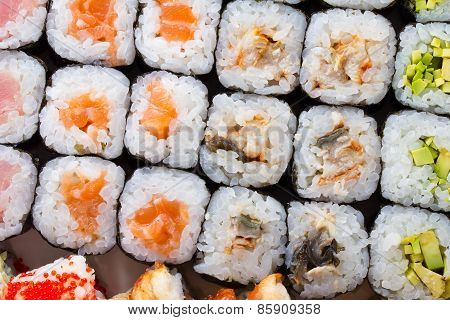 Sushi Set With Many Fresh And Tasty Ingredients