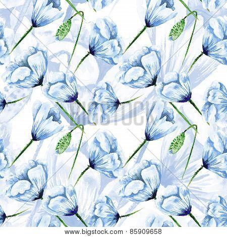 Blue watercolor poppy pattern