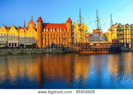 Morning view on Gdansk old town from embankment