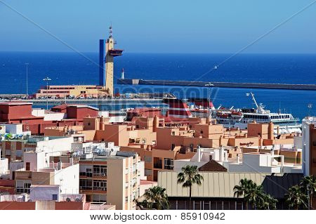 Almeria port and rooftops.