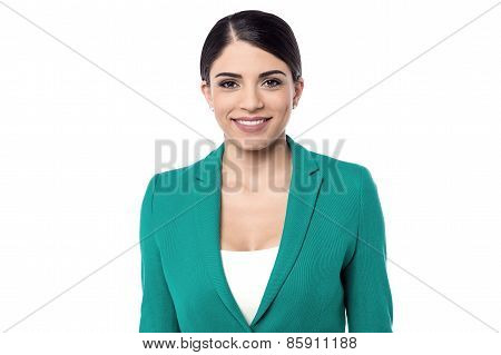 Business Woman Posing Over White