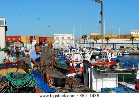 Fishermen in the harbour, Puerto de la Atunara.