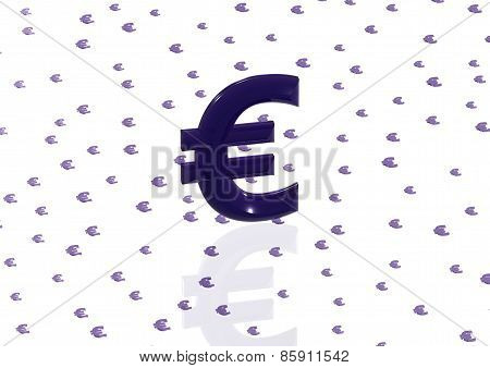 Big Three-dimensional Blue Euro Sign
