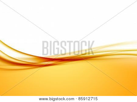 Abstract Orange Swoosh Satin Wave Line Border