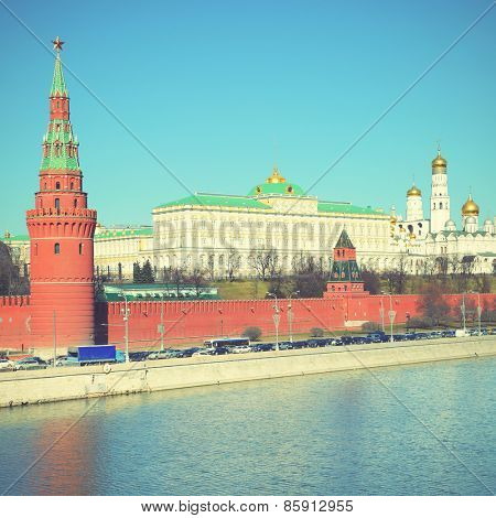 The Moscow Kremlin, Russia. Instagram style filtred image