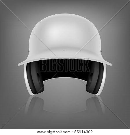 White Baseball Helmet. Vector Background.