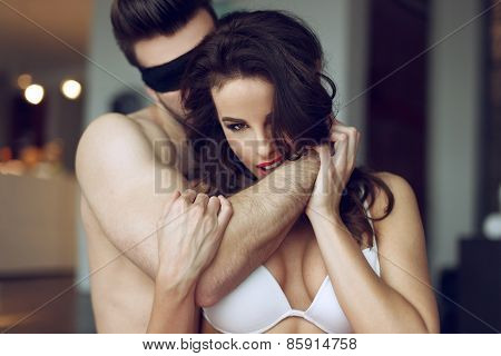 Passionate Couple Foreplay In Luxury Flat