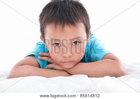 Portrait of child laughing in isolation