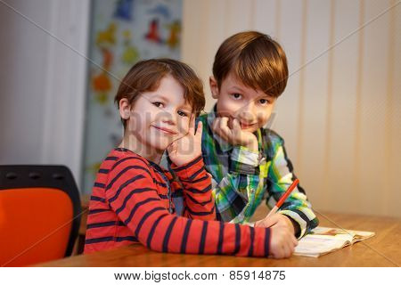 Little Shoolboys Study Together