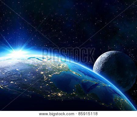 earth Usa, horizon and moon