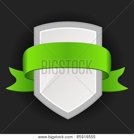 Promotional badge with colored ribbon on dark background