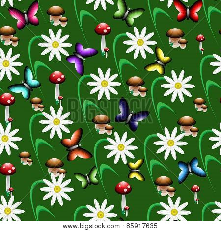 Colorful Seamless Pattern In The Form Of A Forest Clearing.
