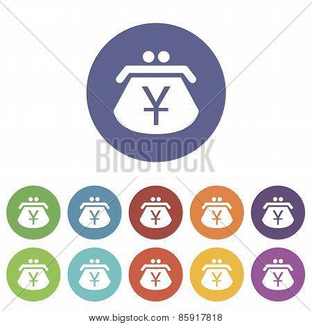 Yen purse flat icon