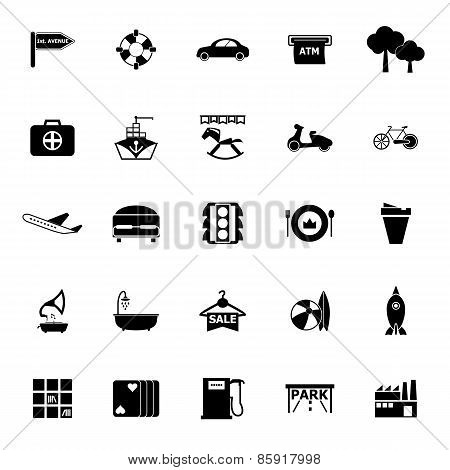 Map Place Icons On White Background
