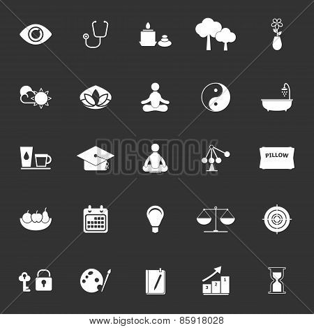 Meditation Icons On Gray Background
