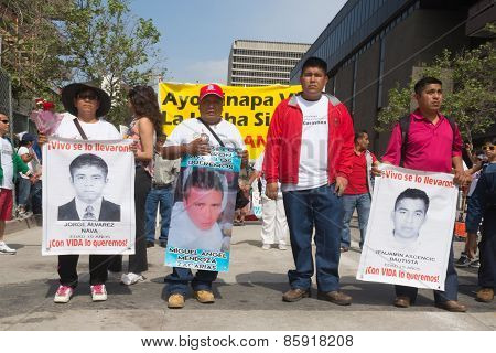 Relatives Of The Students Who Disappeared In Mexico Packed The Streets Of Downtown Los Angeles