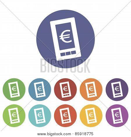 Euro phone flat icon