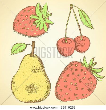 Sketch Pear, Strawberry And Cherry In Vintage Style