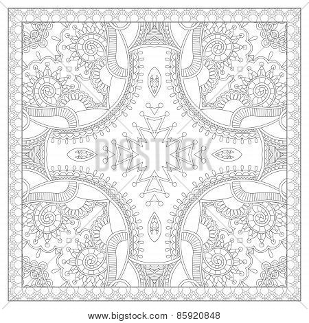 coloring book square page for adults - ethnic floral carpet