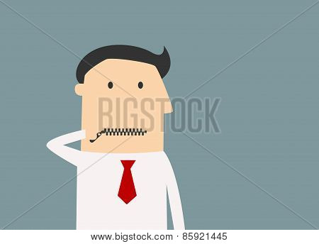 Cartoon businessman zipping his mouth