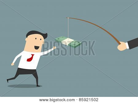 Businessman running after a bribe