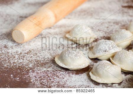 Domestic Raw Dumplings On The Table
