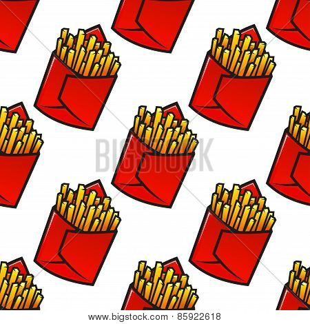 Tasty french fries packs seamless pattern