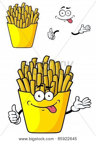 Cartoon french fries with hands and face