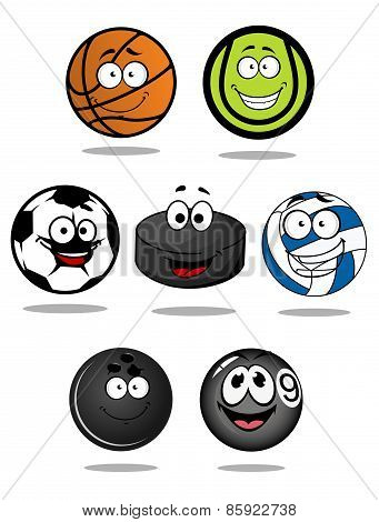 Set of cartoon sports balls characters