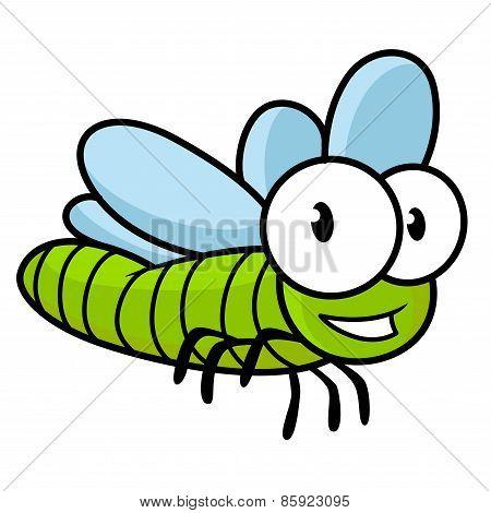 Cute little kids cartoon flying dragonfly