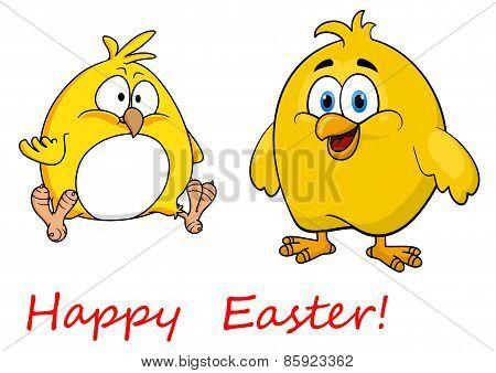 Cute little cartoon Happy Easter chicks