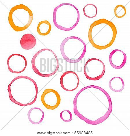 Hand draw watercolor rings circle round stains art paint Vector illustration